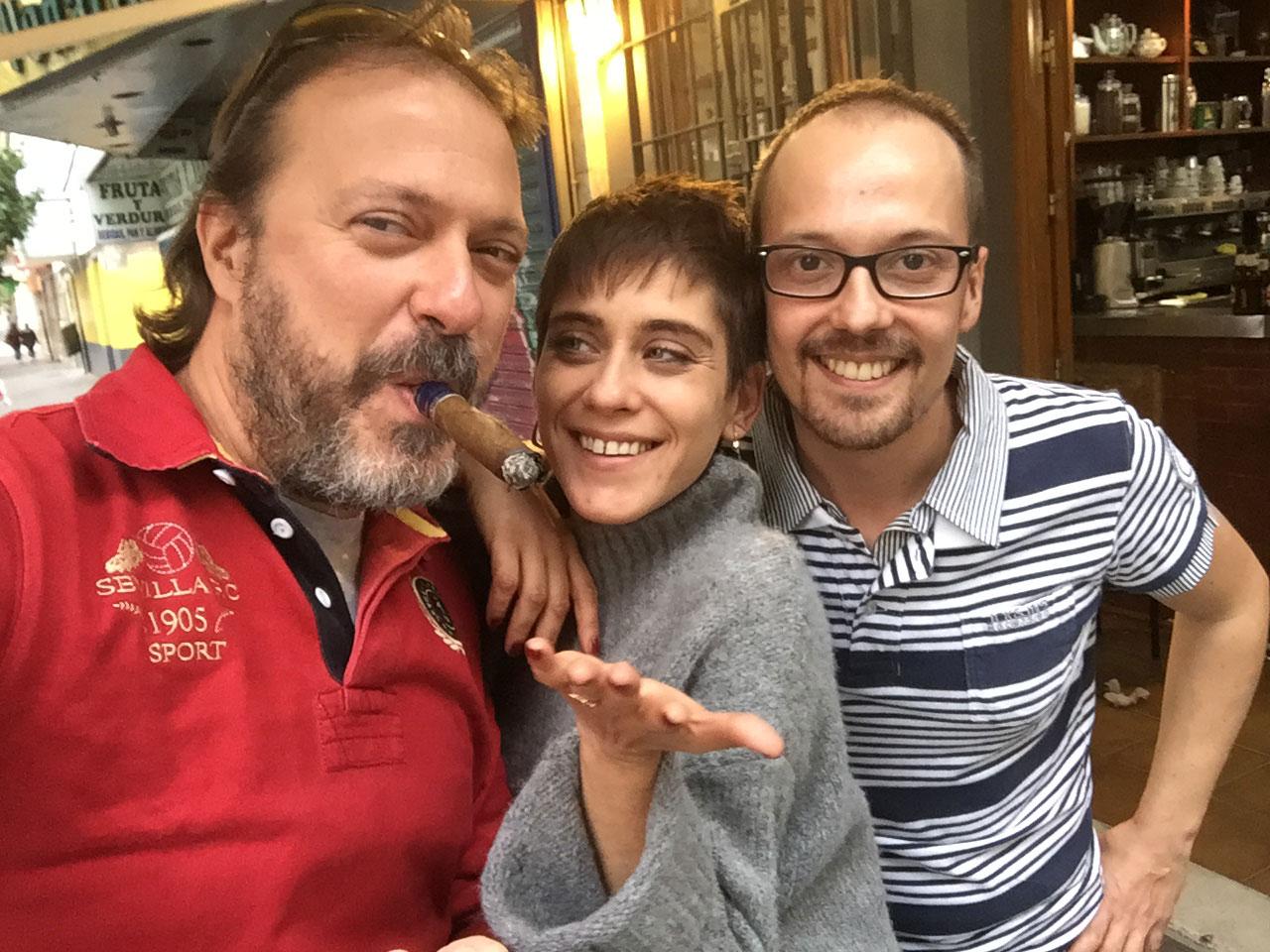 Antonio Jiménez-Riquelme (Editor de centrohistorico.info), María León (Actriz) y Miguel Campos.